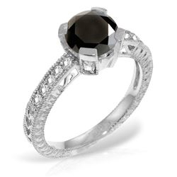 Genuine 1.30 ctw Black & White Diamond Ring Jewelry 14KT White Gold - REF-149H2X