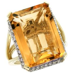 Natural 15.06 ctw Citrine & Diamond Engagement Ring 10K Yellow Gold - REF-64W3K