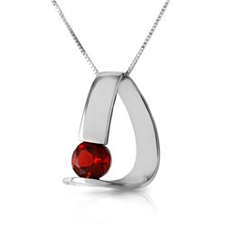 Genuine 1 ctw Garnet Necklace Jewelry 14KT White Gold - REF-50V5W