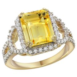 Natural 3.08 ctw citrine & Diamond Engagement Ring 14K Yellow Gold - REF-106R3Z