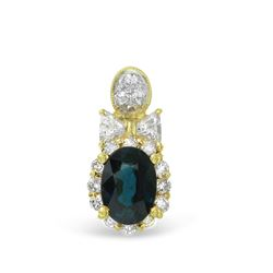 1.43 CTW Sapphire & Diamond Pendant 18K Yellow Gold - REF-49N2Y