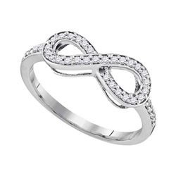 0.20 CTW Pave-set Diamond Infinity Ring 10KT White Gold - REF-18N2F