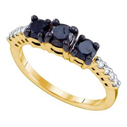 1.06 CTW Black 3-stone Color Diamond Bridal Anniversary Ring 10KT Yellow Gold - REF-30M2H