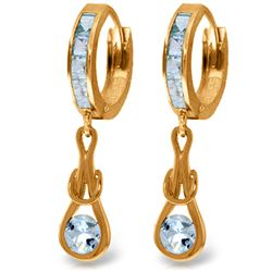 Genuine 2.15 ctw Aquamarine Earrings Jewelry 14KT Rose Gold - REF-80N4R
