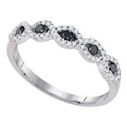 0.35 CTW Black Color Diamond Ring 10KT White Gold - REF-19F4N