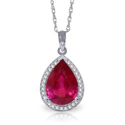 Genuine 5.51 ctw Ruby & Diamond Necklace Jewelry 14KT White Gold - REF-98X3M
