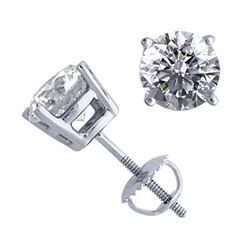 14K White Gold 2.02 ctw Natural Diamond Stud Earrings - REF-521X4F-WJ13304