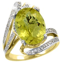 Natural 5.76 ctw lemon-quartz & Diamond Engagement Ring 14K Yellow Gold - REF-90M5H