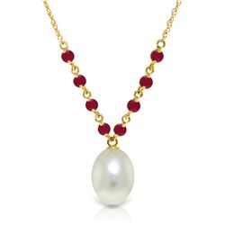 Genuine 5 ctw Pearl & Ruby Necklace Jewelry 14KT Yellow Gold - REF-28H4X
