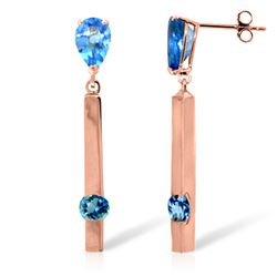 Genuine 4.25 ctw Blue Topaz Earrings Jewelry 14KT Rose Gold - REF-54T6A