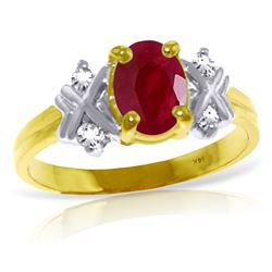 Genuine 1.47 ctw Ruby & Diamond Ring Jewelry 14KT Yellow Gold - REF-63Z2N