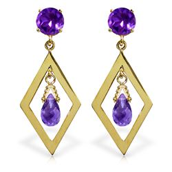 Genuine 2.4 ctw Amethyst Earrings Jewelry 14KT Yellow Gold - REF-39F3Z