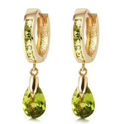Genuine 3.9 ctw Peridot Earrings Jewelry 14KT Yellow Gold - REF-51H2X