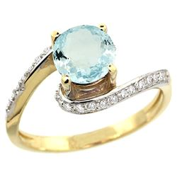 Natural 0.99 ctw aquamarine & Diamond Engagement Ring 10K Yellow Gold - REF-45X3A