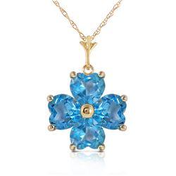 Genuine 3.8 ctw Blue Topaz Necklace Jewelry 14KT Yellow Gold - REF-42F2Z