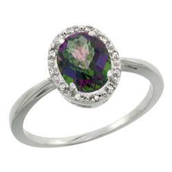 Natural 1.22 ctw Mystic-topaz & Diamond Engagement Ring 14K White Gold - REF-27R2Z