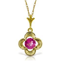 Genuine 0.55 ctw Pink Topaz Necklace Jewelry 14KT Yellow Gold - REF-23Y8F