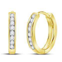 0.25 CTW Diamond Hoop Earrings 10KT Yellow Gold - REF-22F4N