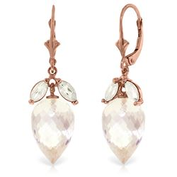 Genuine 25.5 ctw White Topaz Earrings Jewelry 14KT Rose Gold - REF-63X8M