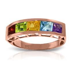 Genuine 2.25 ctw Multi-gemstones Ring Jewelry 14KT Rose Gold - REF-54Y2F