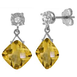 Genuine 17.56 ctw Citrine & Diamond Earrings Jewelry 14KT White Gold - REF-48P3H