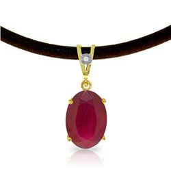 Genuine 7.71 ctw Ruby & Diamond Necklace Jewelry 14KT Yellow Gold - REF-84P2H