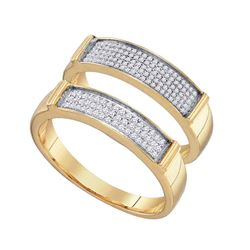 0.34 CTW His & Hers Diamond Matching Bridal Ring 10KT Yellow Gold - REF-34F4N