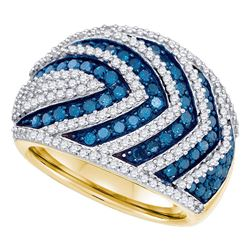 1.75 CTW Blue Color Diamond Fashion Ring 10KT Yellow Gold - REF-97N4F