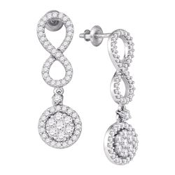 1.3 CTW Diamond Cluster Dangle Infinity Earrings 10KT White Gold - REF-89H9M