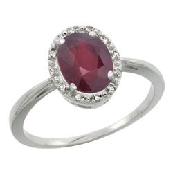 Natural 1.52 ctw Ruby & Diamond Engagement Ring 10K White Gold - REF-21F3N