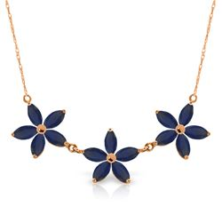 Genuine 5 ctw Sapphire Necklace Jewelry 14KT Rose Gold - REF-86W3Y
