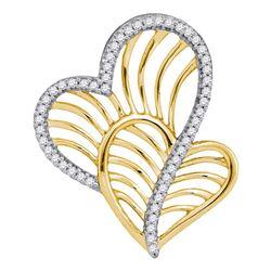 0.12 CTW Diamond Heart Love Pendant 10KT Yellow Gold - REF-16W4K
