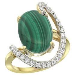 Natural 7.41 ctw Malachite & Diamond Engagement Ring 14K Yellow Gold - REF-85H6W