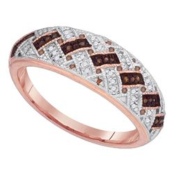 0.15 CTW Red Color Diamond Ring 10KT Rose Gold - REF-25M4H