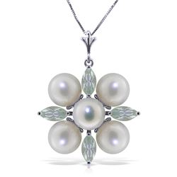 Genuine 6.3 ctw Aquamarine & Pearl Necklace Jewelry 14KT White Gold - REF-60Y4F