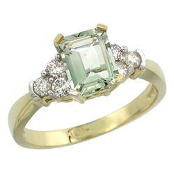 Natural 1.48 ctw green-amethyst & Diamond Engagement Ring 14K Yellow Gold - REF-52G3M