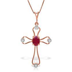 Genuine 0.57 ctw Ruby & Diamond Necklace Jewelry 14KT Rose Gold - REF-42M2T