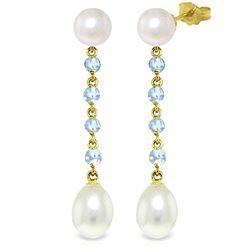 Genuine 11 ctw Pearl & Aquamarine Earrings Jewelry 14KT Yellow Gold - REF-30Y3F