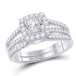 1 CTW Princess Diamond Bridal Engagement Ring 14k White Gold - REF-149Y9X
