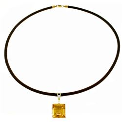 Genuine 6.51 ctw Citrine & Diamond Necklace Jewelry 14KT White Gold - REF-31K6V
