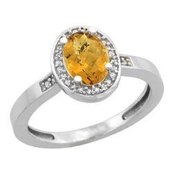 Natural 1.08 ctw Whisky-quartz & Diamond Engagement Ring 14K White Gold - REF-30H9W