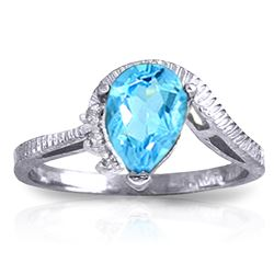 Genuine 1.52 ctw Blue Topaz & Diamond Ring Jewelry 14KT White Gold - REF-51Z4N