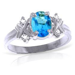Genuine 0.97 ctw Blue Topaz & Diamond Ring Jewelry 14KT White Gold - REF-59Z2N
