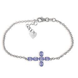 Genuine 1.70 ctw Tanzanite Bracelet Jewelry 14KT White Gold - REF-70Y6F
