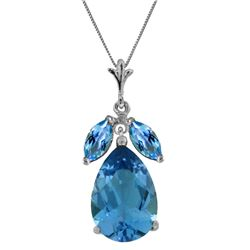 Genuine 6.5 ctw Blue Topaz Necklace Jewelry 14KT White Gold - REF-38N2R