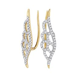 0.33 CTW Diamond Winged Climber Earrings 10KT Yellow Gold - REF-22M4H