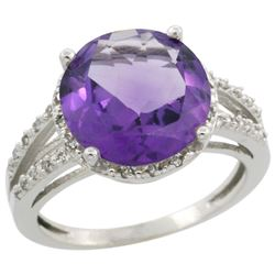 Natural 5.34 ctw Amethyst & Diamond Engagement Ring 14K White Gold - REF-45G5M