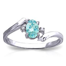 Genuine 0.46 ctw Blue Topaz & Diamond Ring Jewelry 14KT White Gold - REF-28V3W