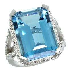 Natural 13.72 ctw London-blue-topaz & Diamond Engagement Ring 10K White Gold - REF-70X4A
