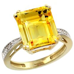 Natural 5.42 ctw Citrine & Diamond Engagement Ring 10K Yellow Gold - REF-57X3A